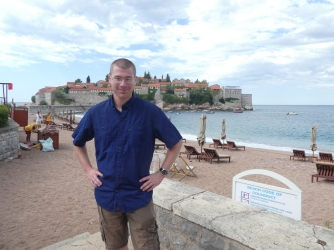 On the beach in front of Sveti Stefan.