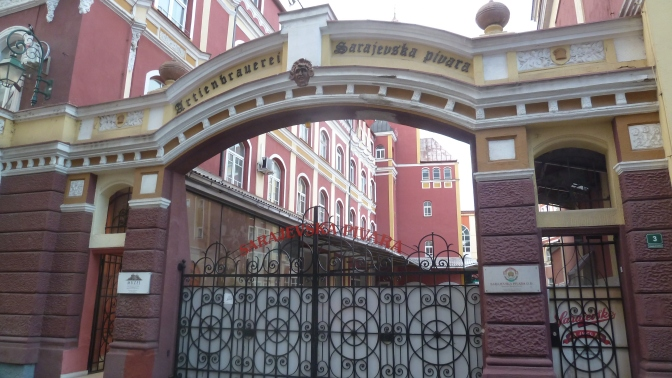 The main entrance Sarajevsko Brewery, where Predrag and Aksentović end up working