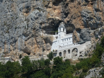 Ostrog Monastery, perched in a cliff side